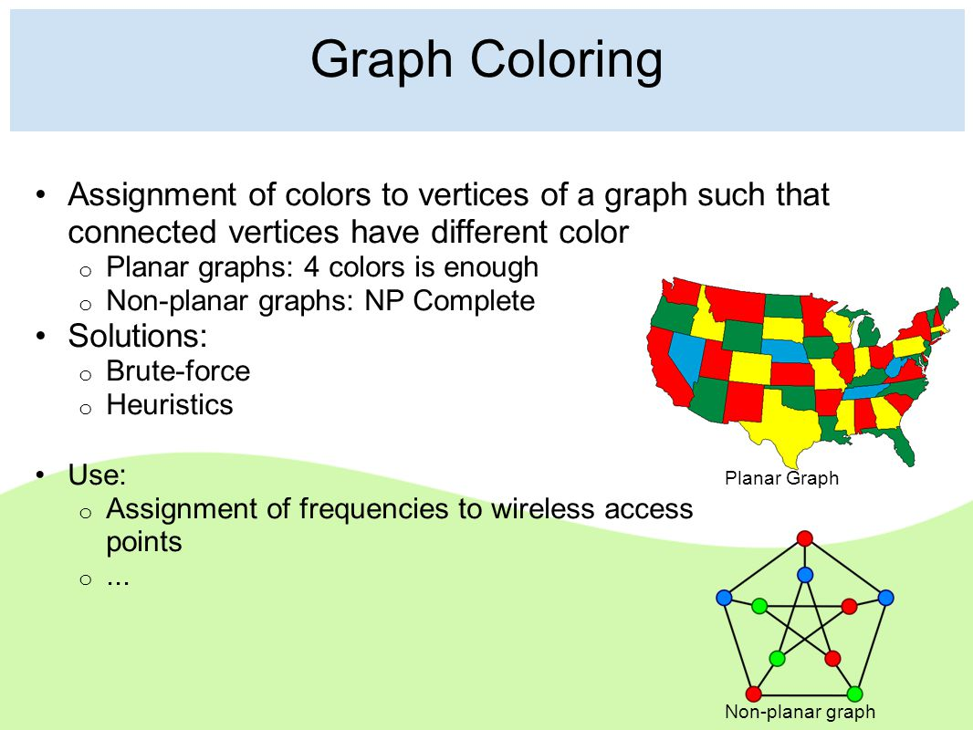 Graph Coloring Assignment of colors to vertices of a graph such that connected vertices have different color o Planar graphs: 4 colors is enough o Non-planar graphs: NP Complete Solutions: o Brute-force o Heuristics Use: o Assignment of frequencies to wireless access points o...
