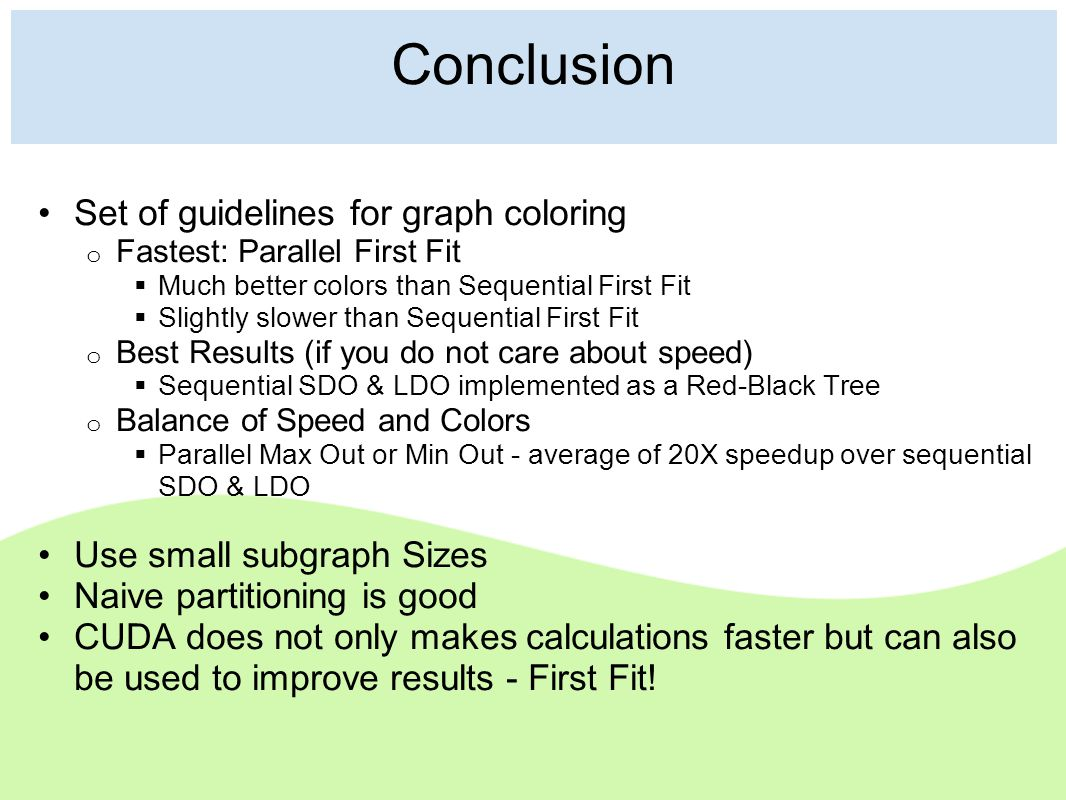 Conclusion Set of guidelines for graph coloring o Fastest: Parallel First Fit  Much better colors than Sequential First Fit  Slightly slower than Se