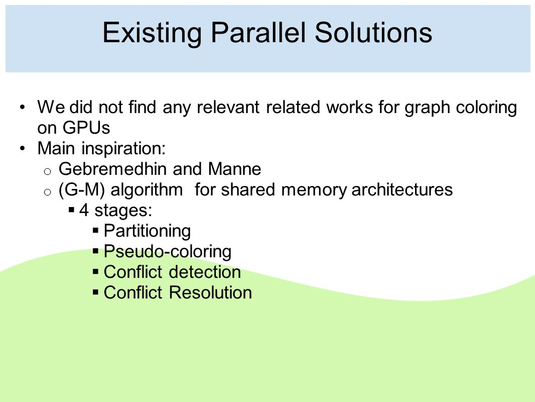 Existing Parallel Solutions We did not find any relevant related works for graph coloring on GPUs Main inspiration: o Gebremedhin and Manne o (G-M) algorithm for shared memory architectures  4 stages:  Partitioning  Pseudo-coloring  Conflict detection  Conflict Resolution