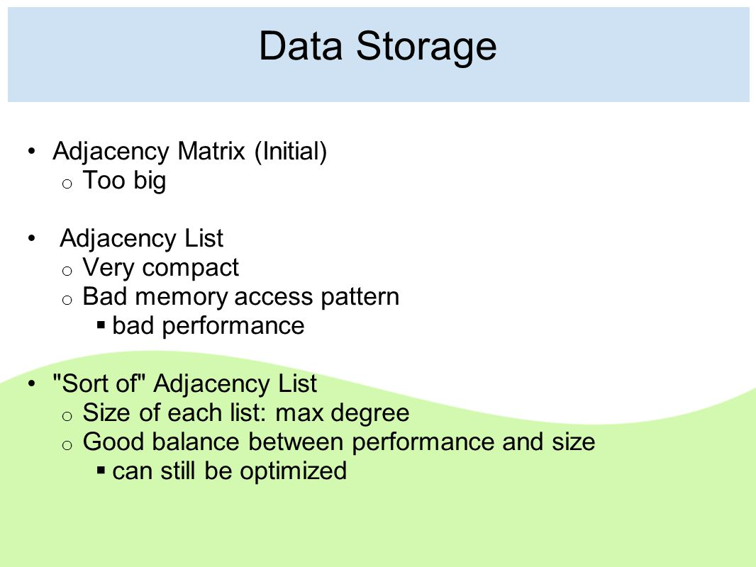 Data Storage Adjacency Matrix (Initial) o Too big Adjacency List o Very compact o Bad memory access pattern  bad performance Sort of Adjacency List o Size of each list: max degree o Good balance between performance and size  can still be optimized
