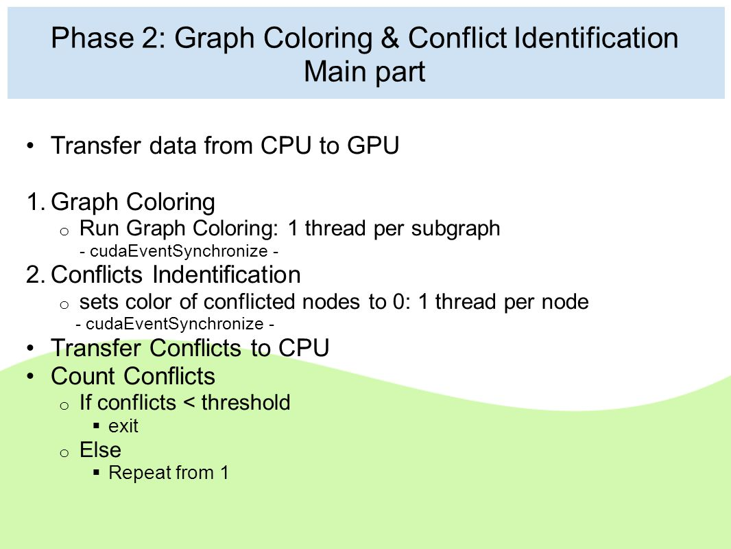 Phase 2: Graph Coloring & Conflict Identification Main part Transfer data from CPU to GPU 1. Graph Coloring o Run Graph Coloring: 1 thread per subgrap