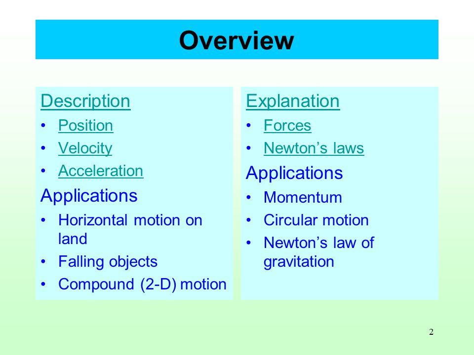 2 Overview Description Position Velocity Acceleration Applications Horizontal motion on land Falling objects Compound (2-D) motion Explanation Forces Newton's laws Applications Momentum Circular motion Newton's law of gravitation
