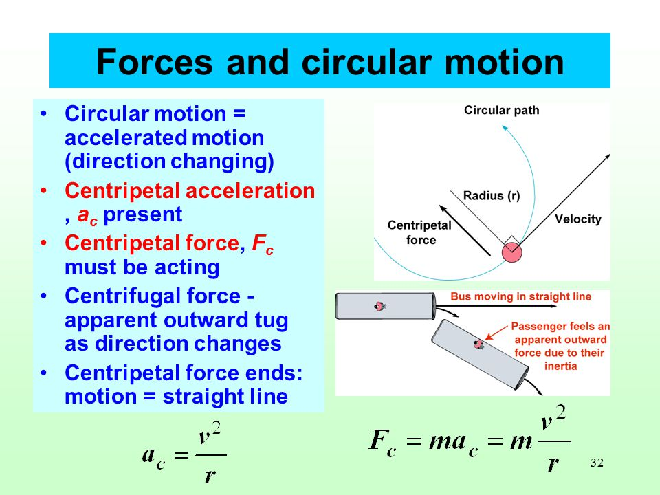 32 Forces and circular motion Circular motion = accelerated motion (direction changing) Centripetal acceleration, a c present Centripetal force, F c must be acting Centrifugal force - apparent outward tug as direction changes Centripetal force ends: motion = straight line