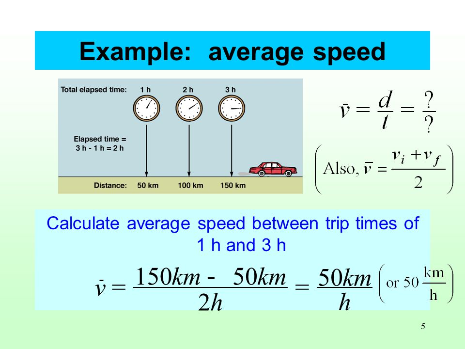 5 Calculate average speed between trip times of 1 h and 3 h v= 150km - 50km 2h = 50km h Example: average speed