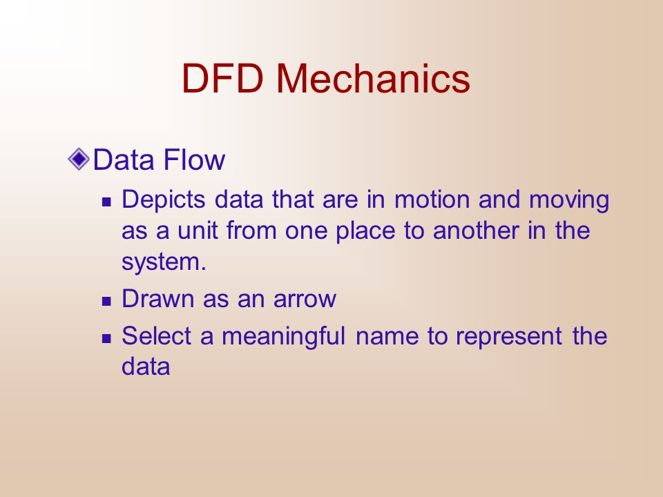 DFD Mechanics Data Store Depicts data at rest May represent data in  File folder  Computer-based file  Notebook Drawn as two horizontal parallel lines The name of the store as well as the number are recorded in between lines