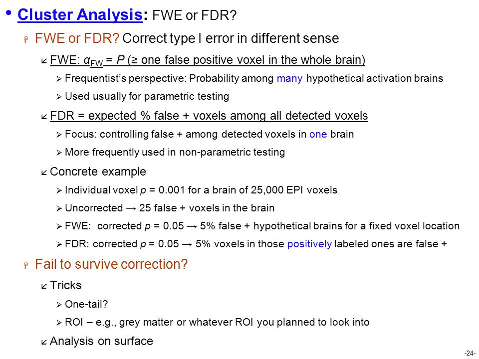 -24- Cluster Analysis: FWE or FDR.  FWE or FDR.
