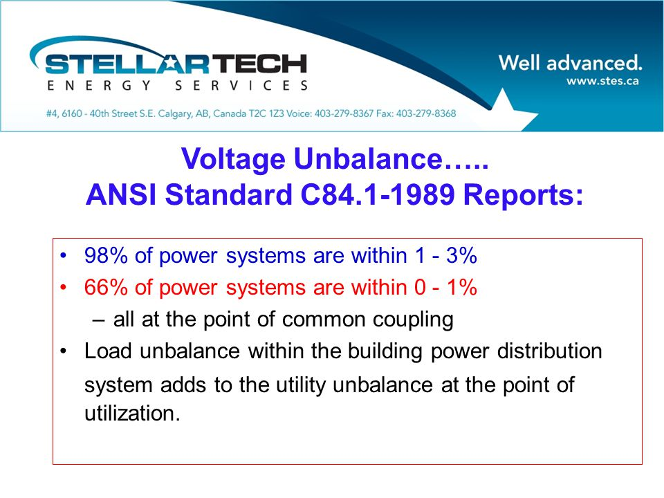 Voltage Unbalance….. ANSI Standard C84.1-1989 Reports: 98% of power systems are within 1 - 3% 66% of power systems are within 0 - 1% –all at the point