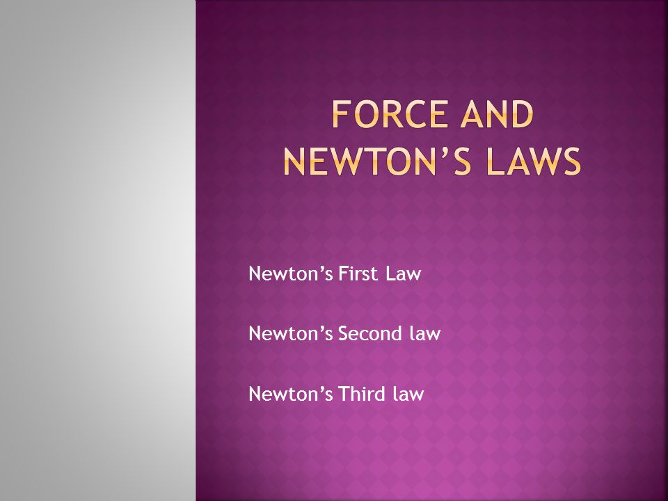 Newton's First Law Newton's Second law Newton's Third law