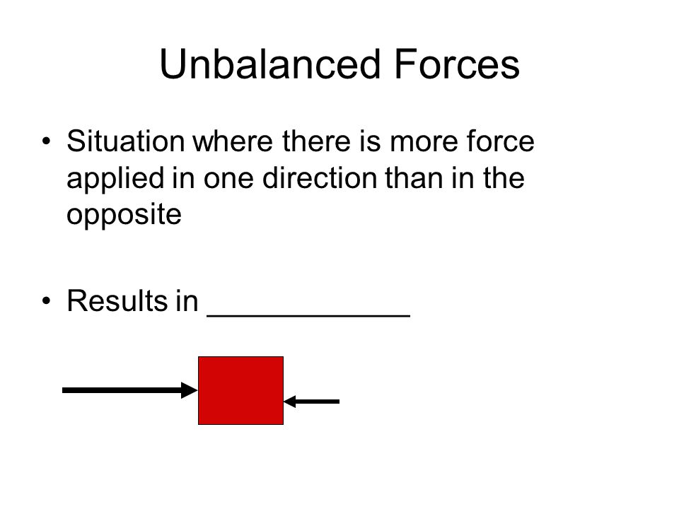 Unbalanced Forces Situation where there is more force applied in one direction than in the opposite Results in ____________