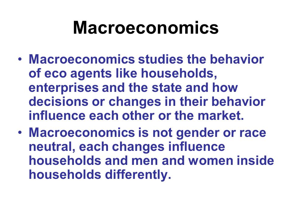 A macro model: Y = C + G + I + (X-M) Y = National Income, GDP, measument of the value of economic activity C = Consumption G = Government Expenditure I = Private Sector Investment X = Exports M = Imports Ignores social reproduction!!!!
