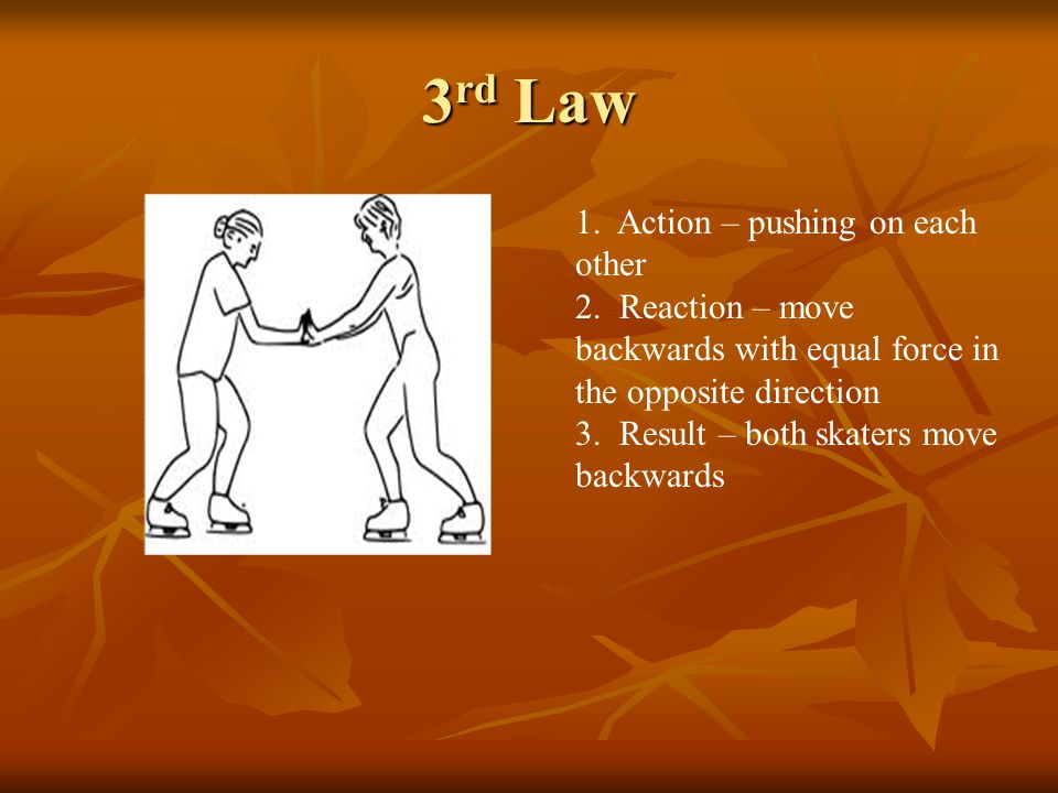 3 rd Law 1. Action – pushing on each other 2.