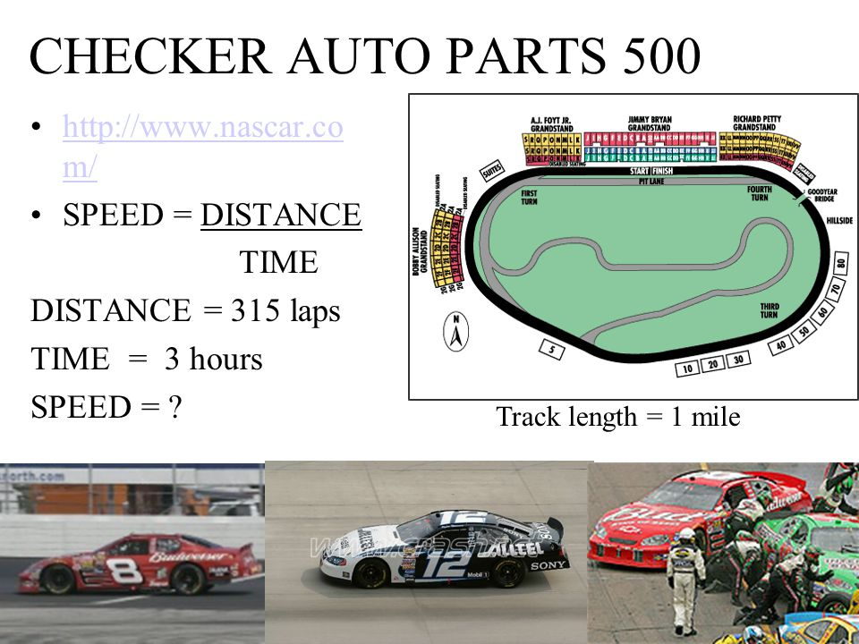 CHECKER AUTO PARTS 500 http://www.nascar.co m/http://www.nascar.co m/ SPEED = DISTANCE TIME DISTANCE = 315 laps TIME = 3 hours SPEED = .