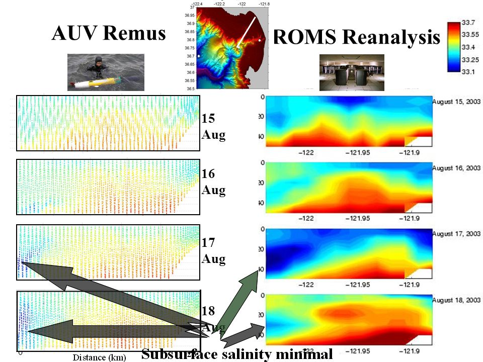 15 Aug 16 Aug 17 Aug 0 AUV Remus ROMS Reanalysis 18 Aug
