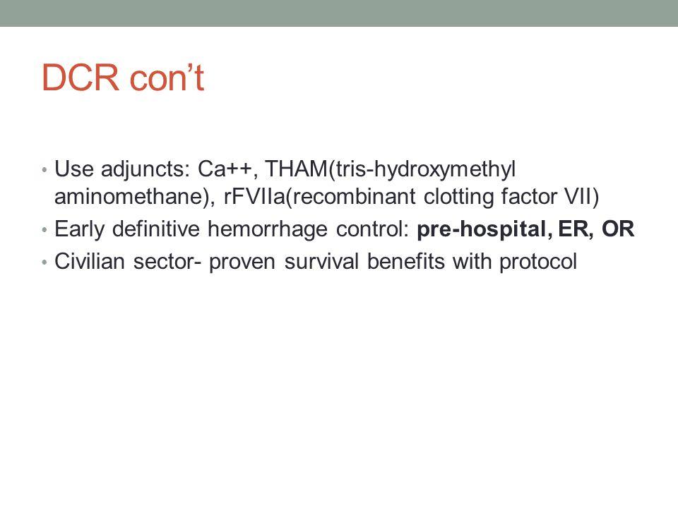 DCR con't Use adjuncts: Ca++, THAM(tris-hydroxymethyl aminomethane), rFVIIa(recombinant clotting factor VII) Early definitive hemorrhage control: pre-