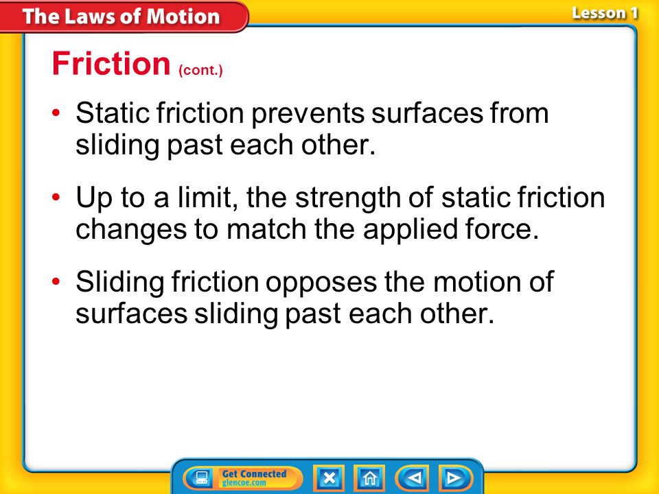 Lesson 1-3 Friction (cont.) static Science Use at rest or having no motion Common Use noise produced in a radio or television