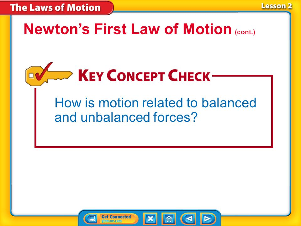 Lesson 2-2 Balanced forces acting on an object do not change the object's speed and direction. Newton's first law of motion only applies to balanced f