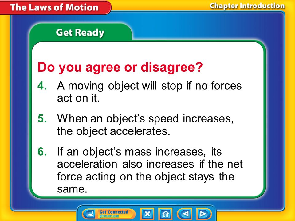 Chapter Introduction 4.A moving object will stop if no forces act on it.