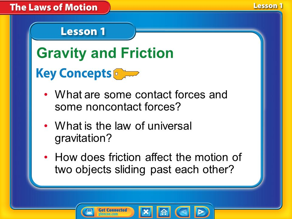 Lesson 1 Reading Guide - KC What are some contact forces and some noncontact forces.