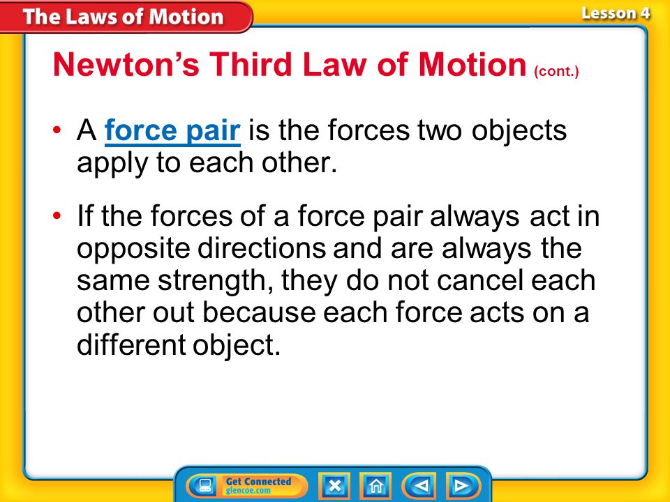 Lesson 4-2 A force pair is the forces two objects apply to each other.force pair If the forces of a force pair always act in opposite directions and are always the same strength, they do not cancel each other out because each force acts on a different object.