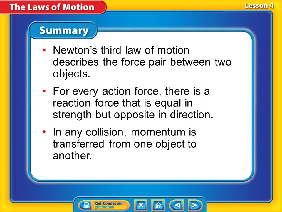 Lesson 4 - VS Newton's third law of motion describes the force pair between two objects.