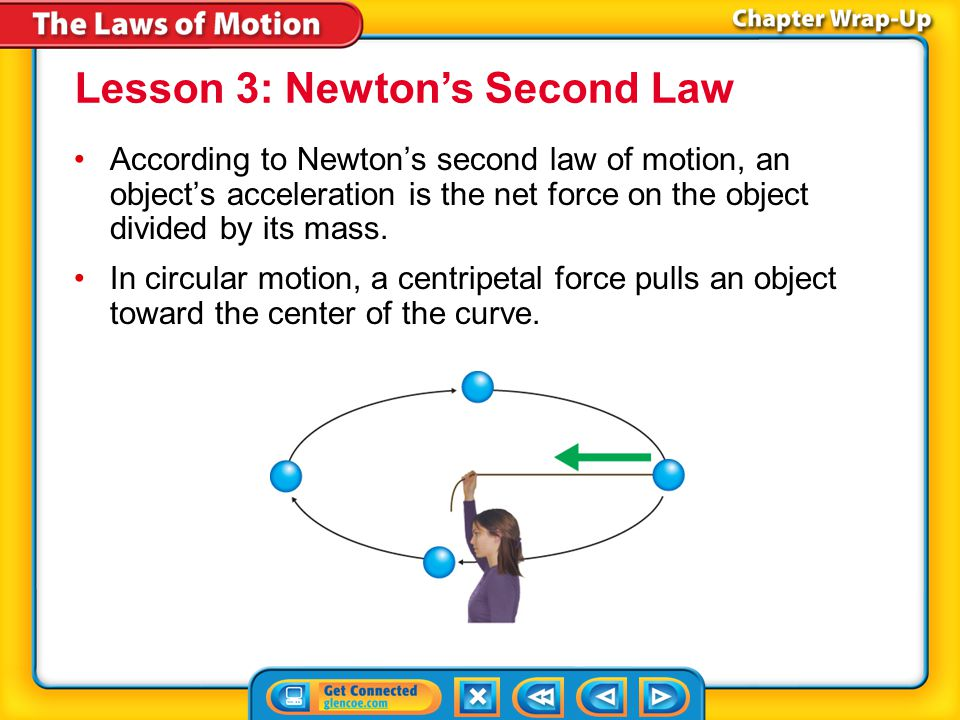 Key Concepts 3 According to Newton's second law of motion, an object's acceleration is the net force on the object divided by its mass.