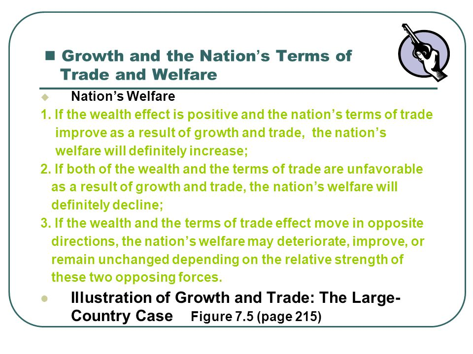 Growth and the Nation ' s Terms of Trade and Welfare  Nation's Welfare 1. If the wealth effect is positive and the nation's terms of trade improve as