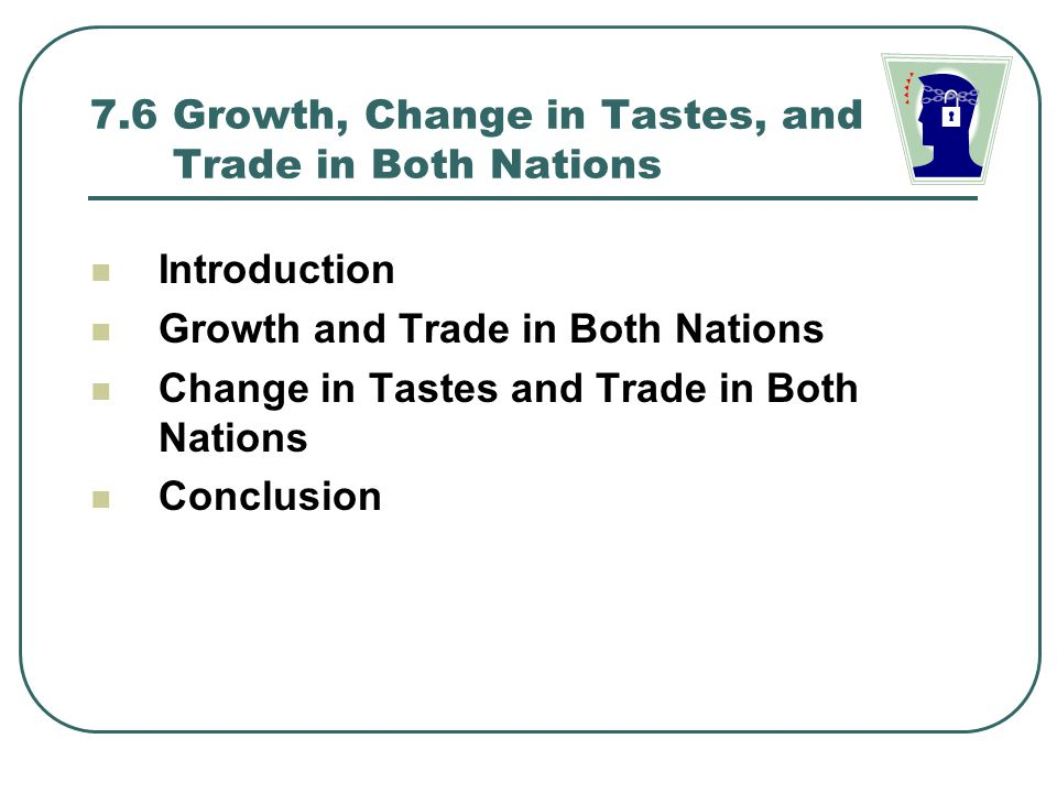7.6 Growth, Change in Tastes, and Trade in Both Nations Introduction Growth and Trade in Both Nations Change in Tastes and Trade in Both Nations Concl