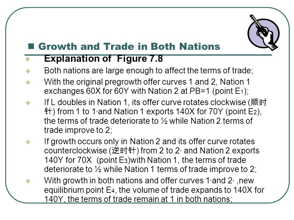 Growth and Trade in Both Nations Explanation of Figure 7.8  Both nations are large enough to affect the terms of trade;  With the original pregrowth