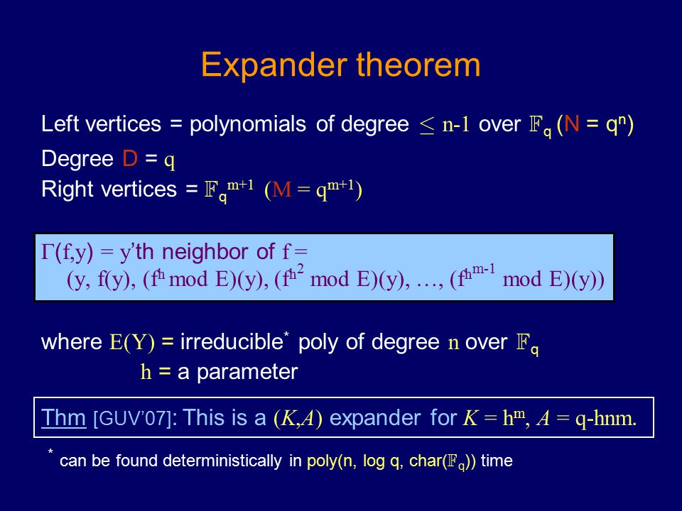 Expander theorem Left vertices = polynomials of degree · n-1 over F q (N = q n ) Degree D = q Right vertices = F q m+1 (M = q m+1 )  ( f,y ) = y 'th