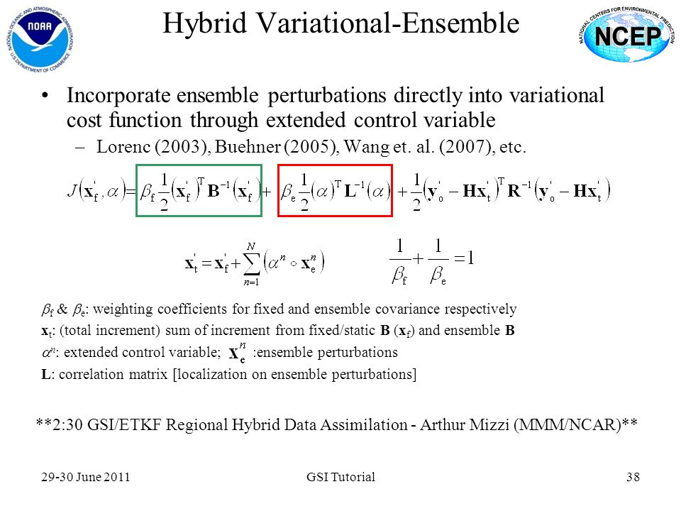 29-30 June 2011GSI Tutorial38 Hybrid Variational-Ensemble Incorporate ensemble perturbations directly into variational cost function through extended