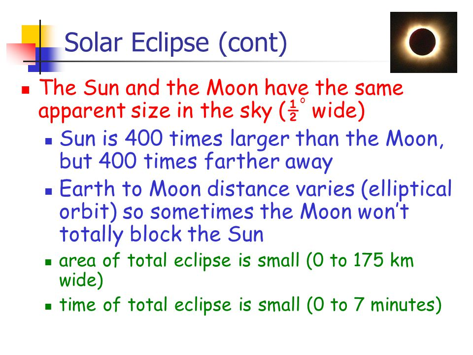 Solar Eclipse (cont) The Sun and the Moon have the same apparent size in the sky (½ o wide) Sun is 400 times larger than the Moon, but 400 times farther away Earth to Moon distance varies (elliptical orbit) so sometimes the Moon won't totally block the Sun area of total eclipse is small (0 to 175 km wide) time of total eclipse is small (0 to 7 minutes)