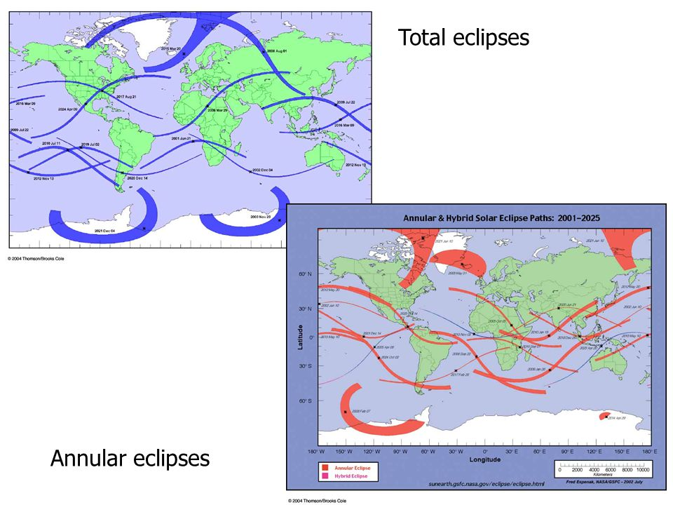 Total eclipses Annular eclipses