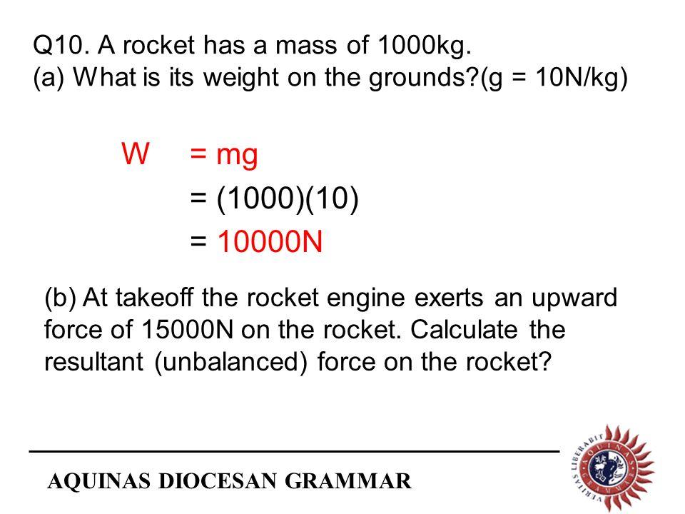 AQUINAS DIOCESAN GRAMMAR Q10. A rocket has a mass of 1000kg.