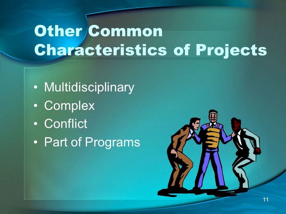 11 Other Common Characteristics of Projects Multidisciplinary Complex Conflict Part of Programs