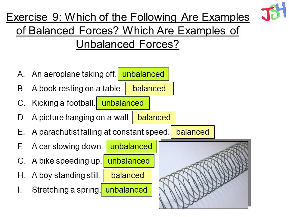 Printables Balanced And Unbalanced Forces Worksheet forces types of contact and non friction exercise 9 which the following are examples balanced examples