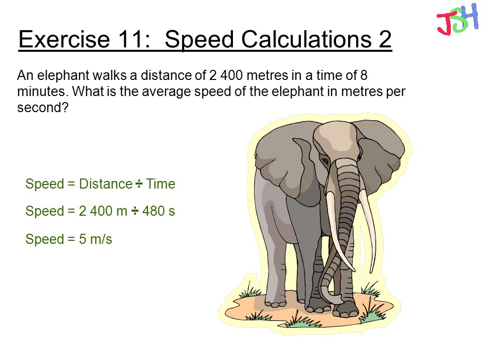 Exercise 11: Speed Calculations 2 An elephant walks a distance of 2 400 metres in a time of 8 minutes. What is the average speed of the elephant in me