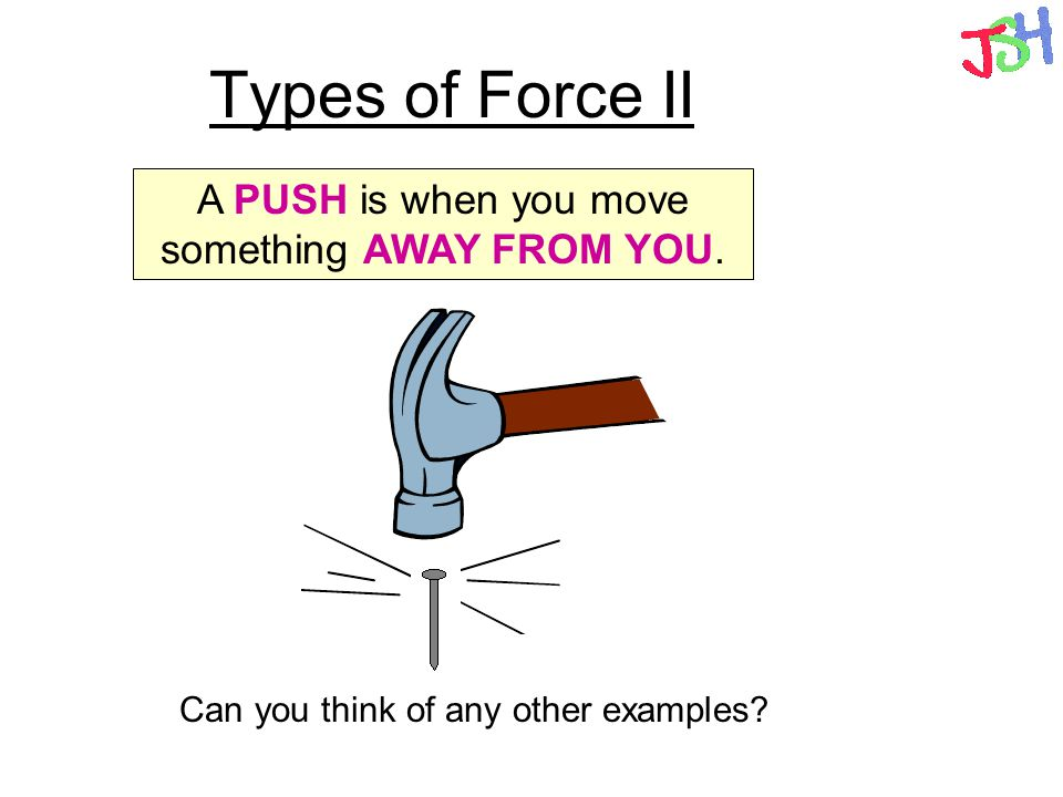 Types of Force II A PUSH is when you move something AWAY FROM YOU. Can you think of any other examples?