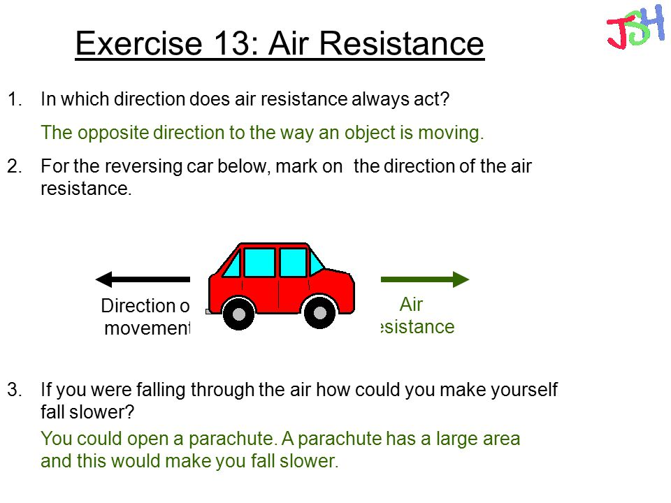 Exercise 13: Air Resistance 1.In which direction does air resistance always act? 2.For the reversing car below, mark on the direction of the air resis