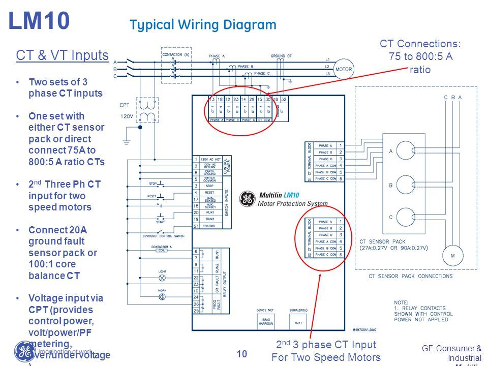 10 GE Consumer & Industrial Multilin 2 nd 3 phase CT Input For Two Speed Motors CT Connections: 75 to 800:5 A ratio CT & VT Inputs Two sets of 3 phase