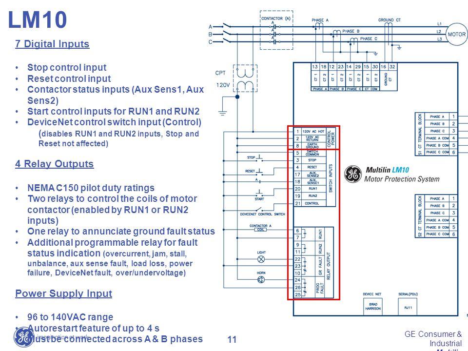 11 GE Consumer & Industrial Multilin 7 Digital Inputs Stop control input Reset control input Contactor status inputs (Aux Sens1, Aux Sens2) Start cont