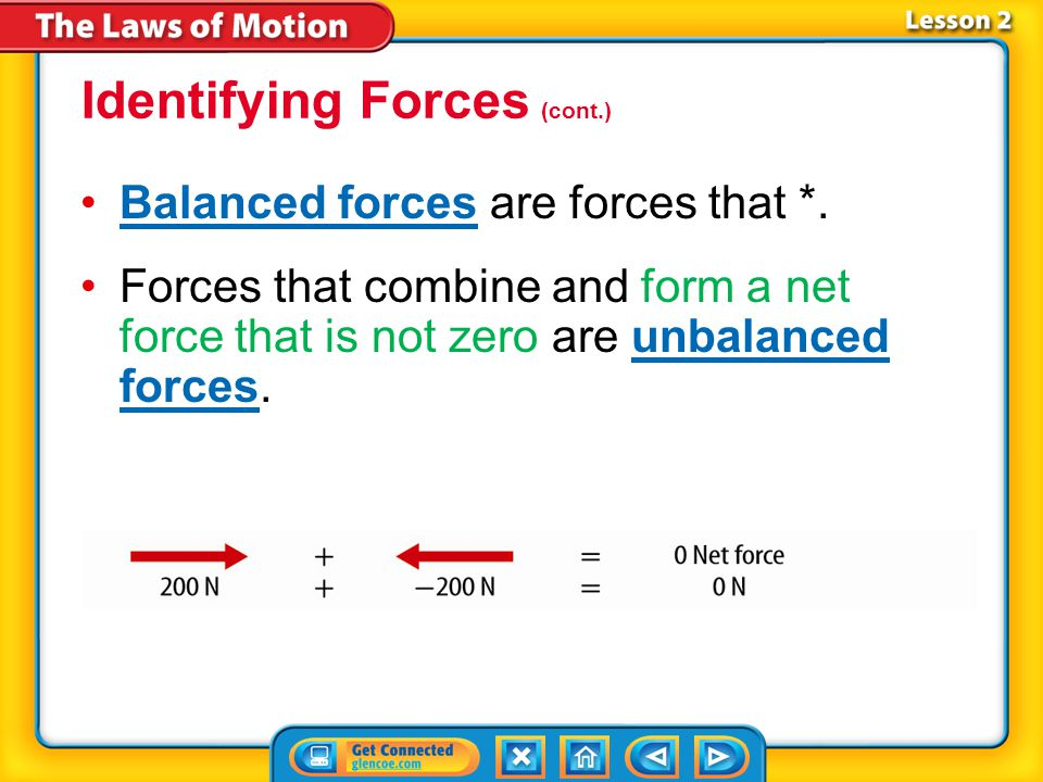 Lesson 2-1 When forces act in opposite direction on an object, the net force is still the sum of the forces.