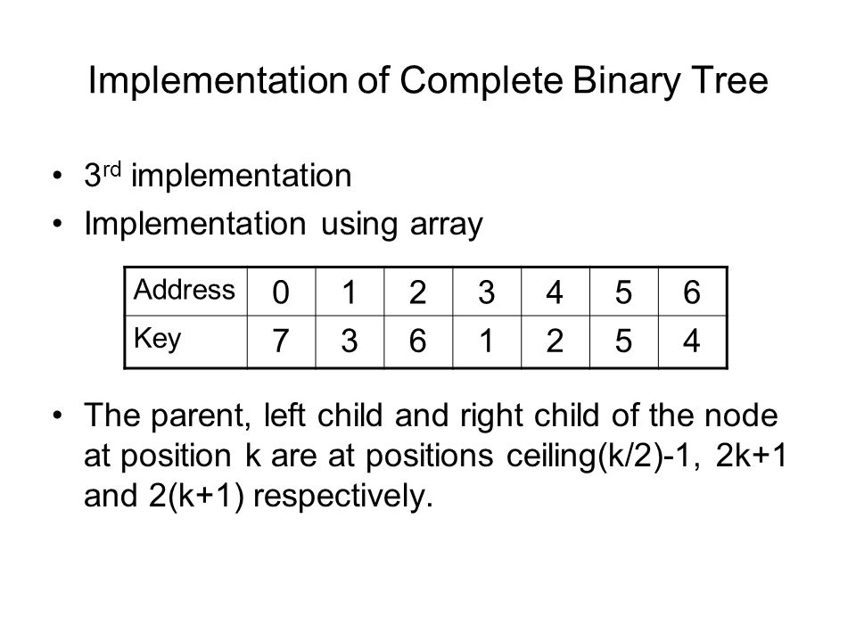 Implementation of Complete Binary Tree 3 rd implementation Implementation using array The parent, left child and right child of the node at position k