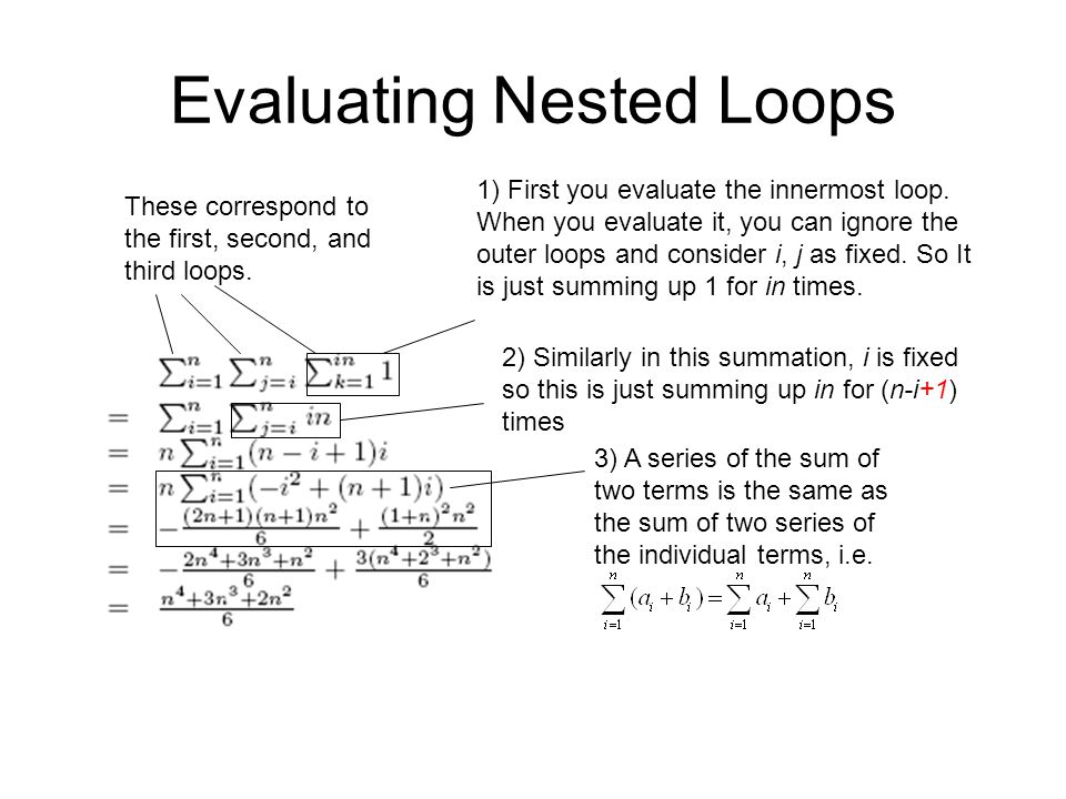 Evaluating Nested Loops 1) First you evaluate the innermost loop. When you evaluate it, you can ignore the outer loops and consider i, j as fixed. So