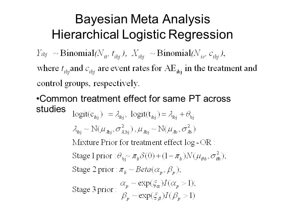 Bayesian Meta Analysis Hierarchical Logistic Regression Common treatment effect for same PT across studies