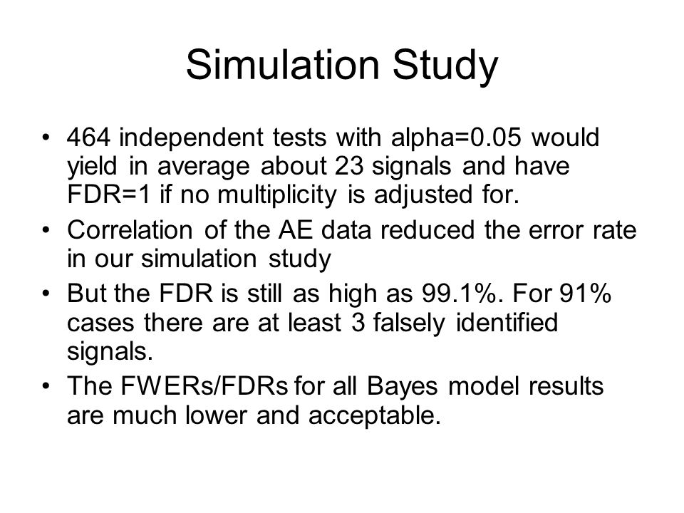 Simulation Study 464 independent tests with alpha=0.05 would yield in average about 23 signals and have FDR=1 if no multiplicity is adjusted for.