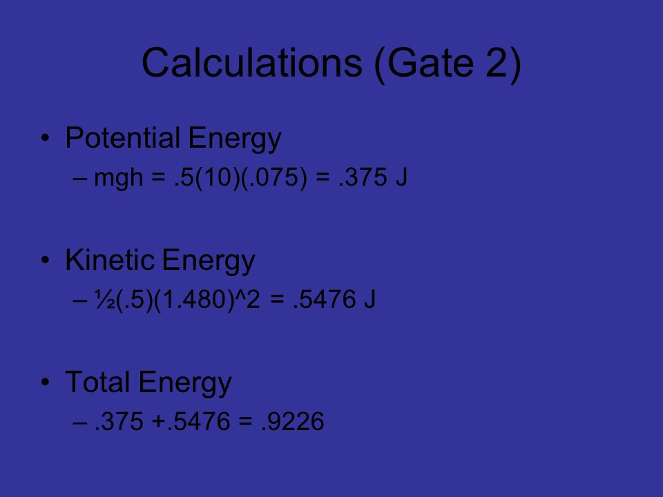 Calculations (Gate 2) Potential Energy –mgh =.5(10)(.075) =.375 J Kinetic Energy –½(.5)(1.480)^2 =.5476 J Total Energy –.375 +.5476 =.9226