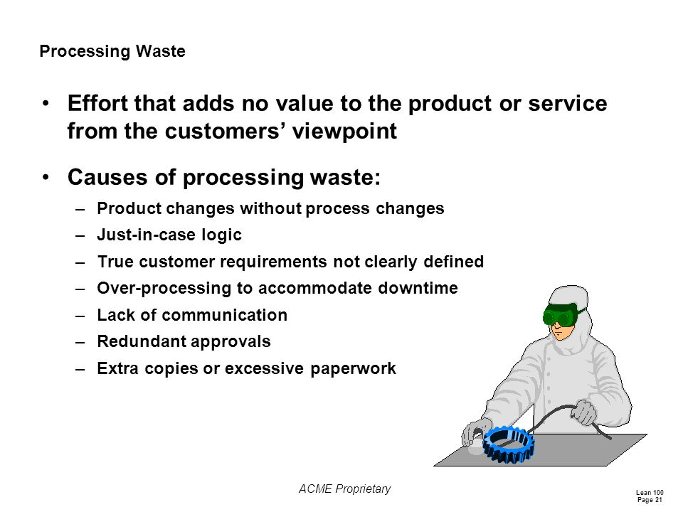Lean 100 Page 21 ACME Proprietary Processing Waste Effort that adds no value to the product or service from the customers' viewpoint Causes of processing waste: –Product changes without process changes –Just-in-case logic –True customer requirements not clearly defined –Over-processing to accommodate downtime –Lack of communication –Redundant approvals –Extra copies or excessive paperwork