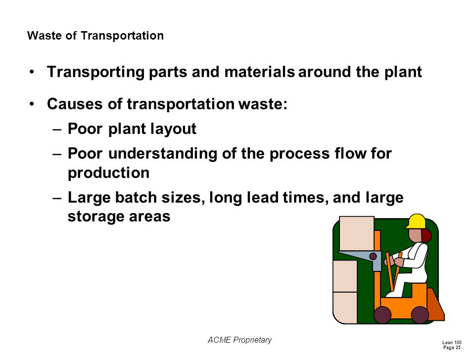 Lean 100 Page 25 ACME Proprietary Waste of Transportation Transporting parts and materials around the plant Causes of transportation waste: –Poor plant layout –Poor understanding of the process flow for production –Large batch sizes, long lead times, and large storage areas
