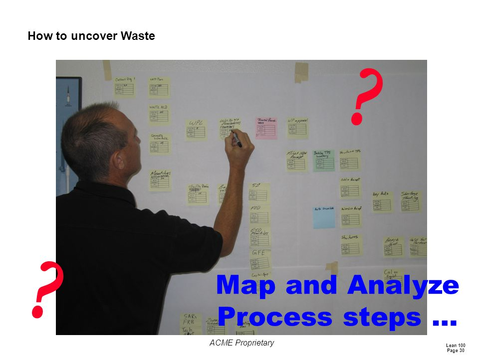 Lean 100 Page 30 ACME Proprietary How to uncover Waste ? ? Map and Analyze Process steps …