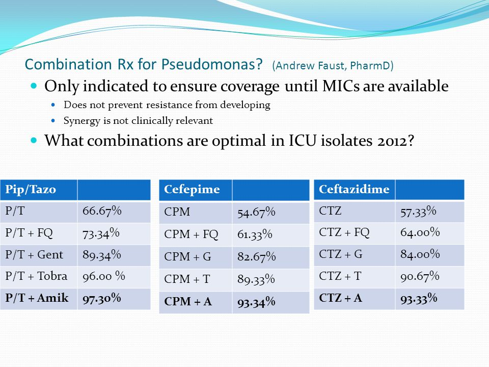 Combination Rx for Pseudomonas.